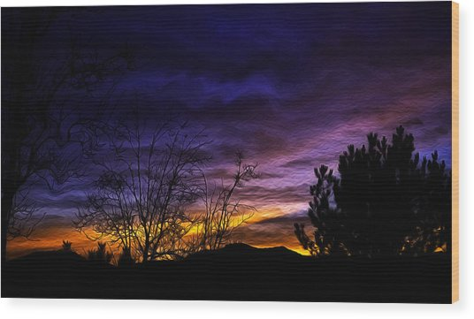Night Paints The Sky Wood Print by Nancy Marie Ricketts