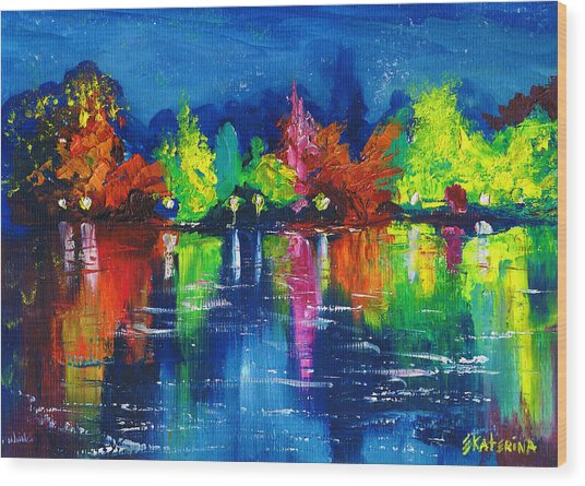 Night Park By The River Lanterns Trees Wood Print