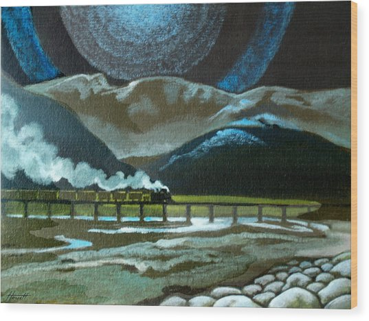 Night Passage - Ww480 Steam Wood Print by Patricia Howitt