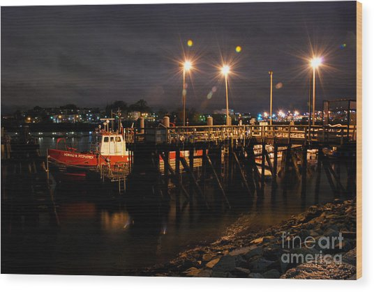 Night Pier Wood Print