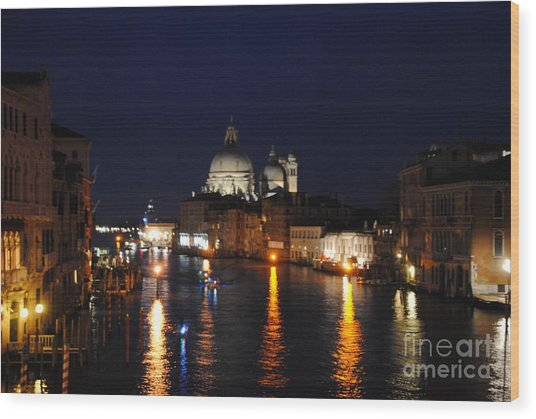 Night Reflections On Grand Canal Wood Print by Jacqueline M Lewis