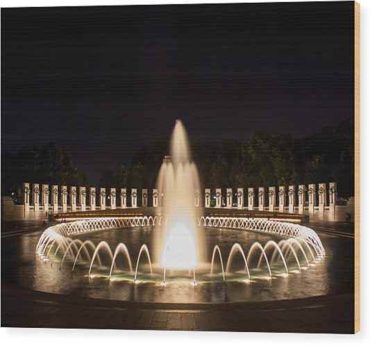 Night Reflections Wwii Memorial  Wood Print