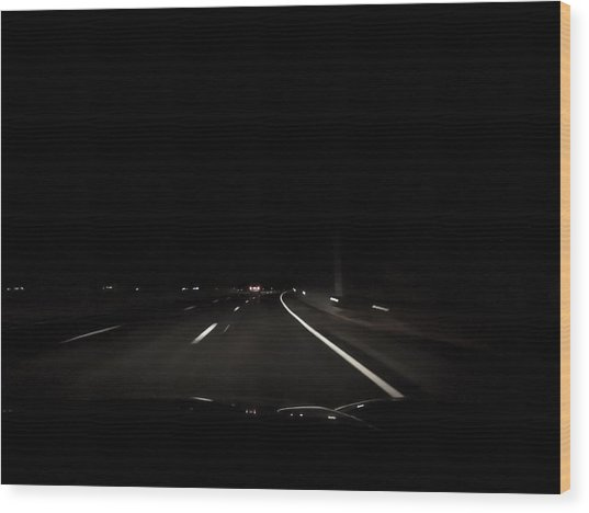 Night Road Wood Print by Anastasia Konn
