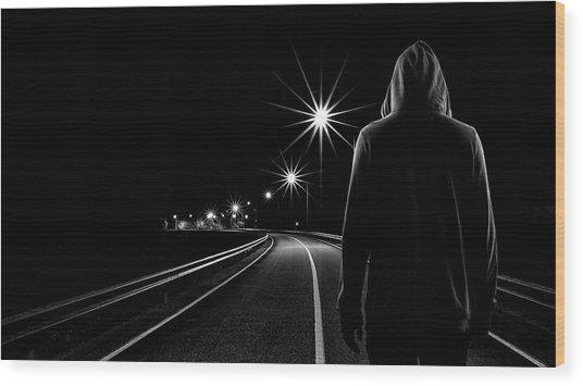 Night Road Wood Print