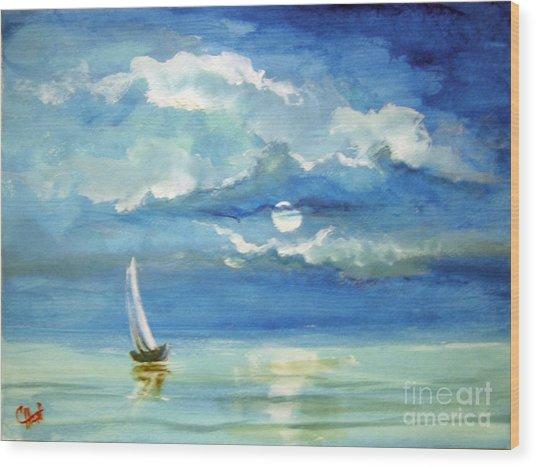Night Sail Wood Print