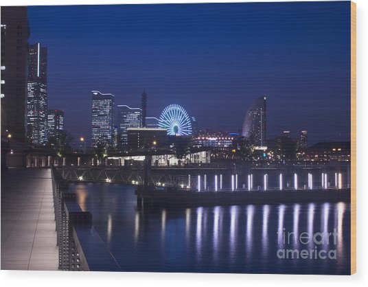 Night Scene In Blue Of Minatomirai In Yokohama Wood Print