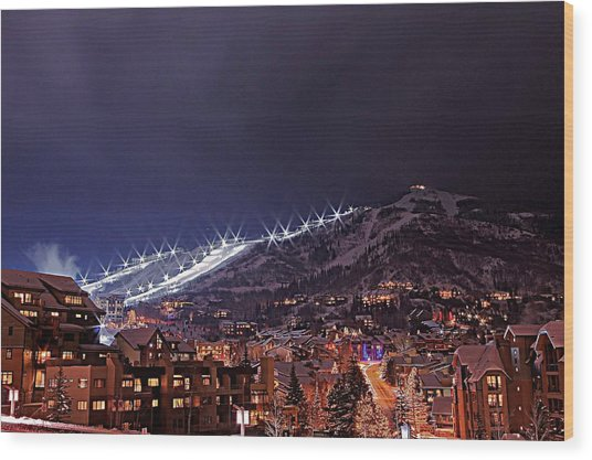Night Ski Area Wood Print