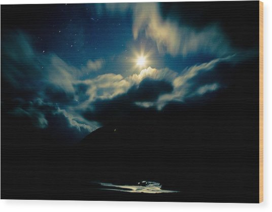 Night Sky And Moon Himalyan Wood Print