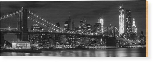 Night-skyline New York City Bw Wood Print
