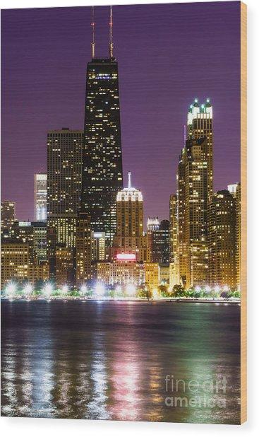 Night Skyline Of Chicago Wood Print