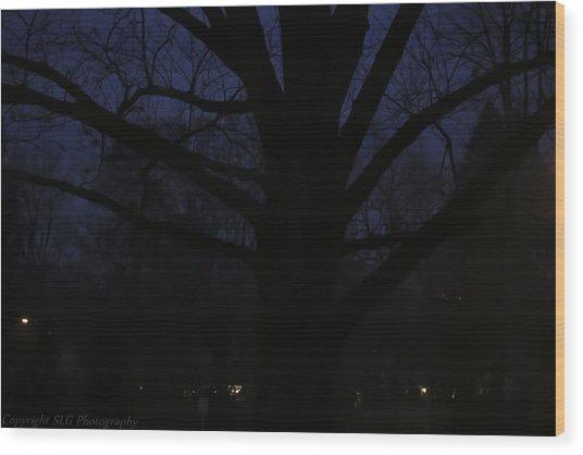 Night Wood Print by Stacie  Goodloe
