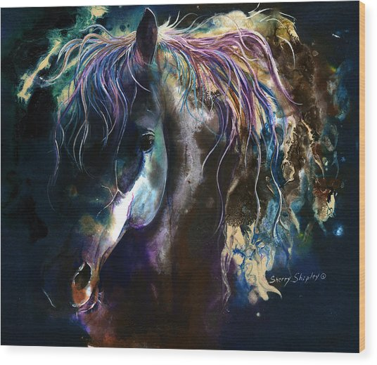Night Stallion Wood Print