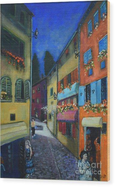 Night Street In Pula Wood Print