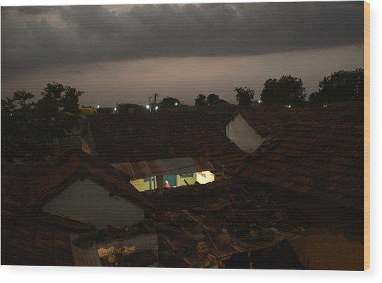Night Talk Wood Print by Mahendra Mithapara
