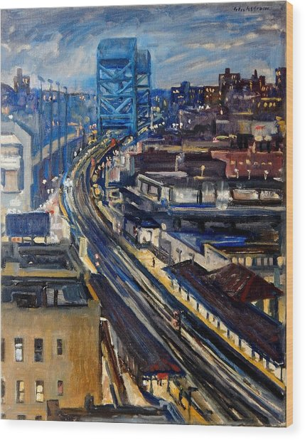 Night Tracks New York Nocturne Broadway Bridge Wood Print
