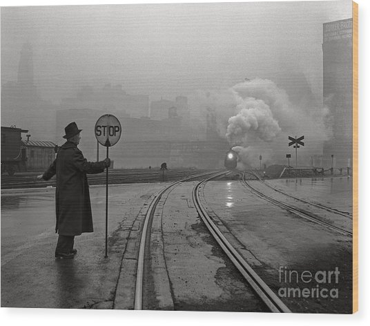 Night Train Thru Fog Wood Print