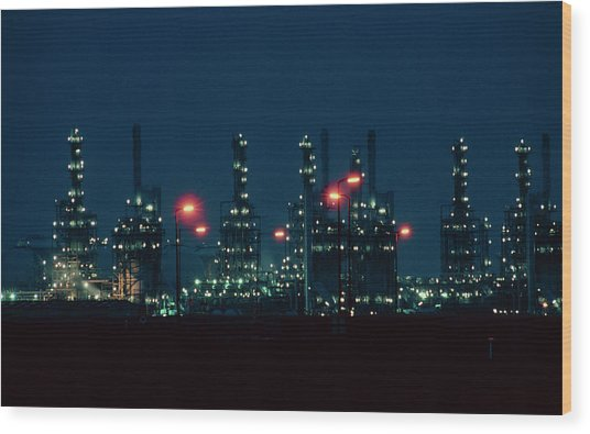 Night View Of Ici Chemical Works Wood Print by Martin Bond/science Photo Library