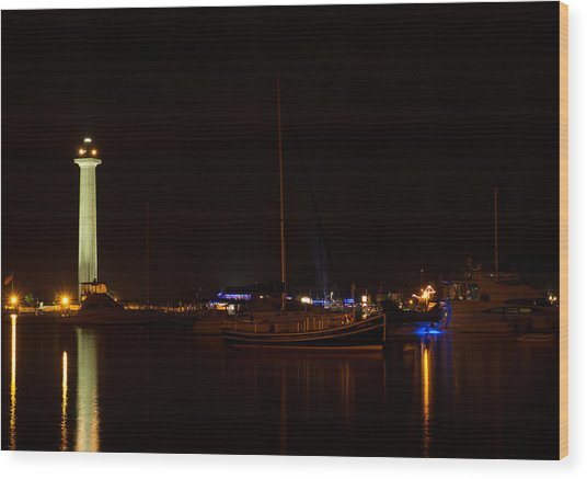 Night View Of Put-in-bay Wood Print