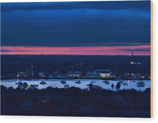 Night View Of St. Augustine Bayfront South Wood Print