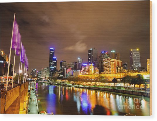 Night View Of The Yarra River And Skyscrapers - Melbourne - Australia Wood Print