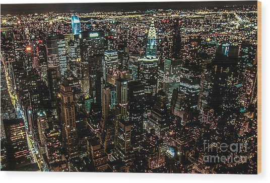 Night View From Empire State Building Wood Print by Kim Lessel