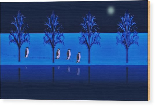 Night Walk Of The Penguins Wood Print