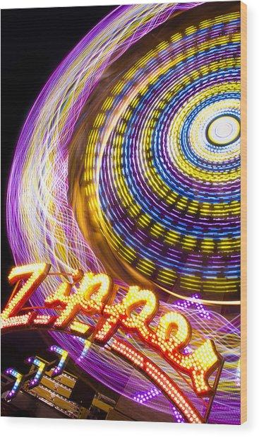 Night Zipper Wood Print
