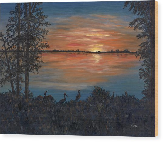 Nightfall At Loxahatchee Wood Print