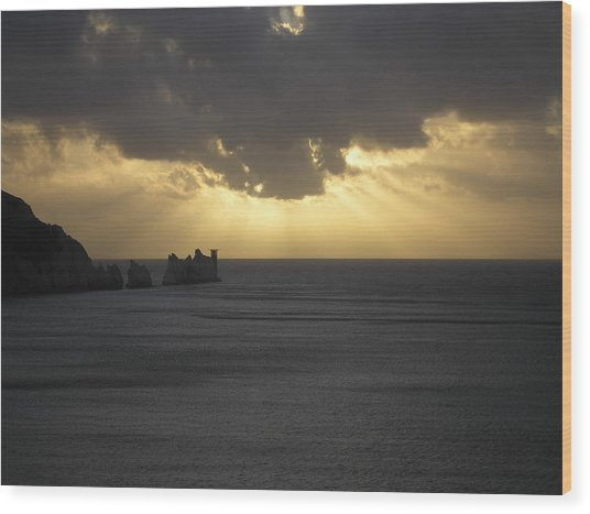 Nightfall At The Needles Point In The Isle Of Wight Wood Print