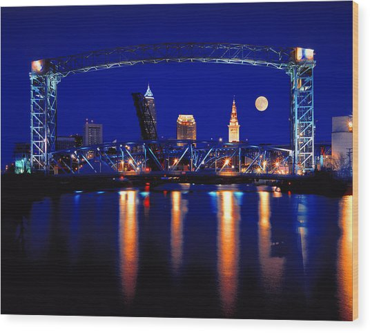 Nightfall In Cleveland Wood Print