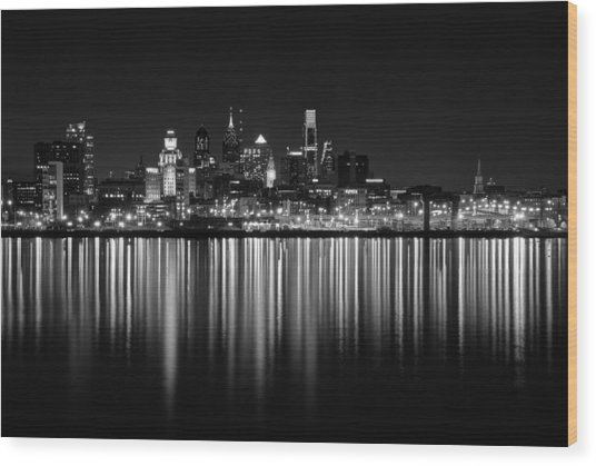 Wood Print featuring the photograph Nightfall In Philly B/w by Jennifer Ancker