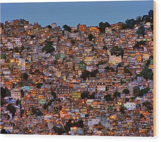 Nightfall In The Favela Da Rocinha Wood Print by Adelino Alves