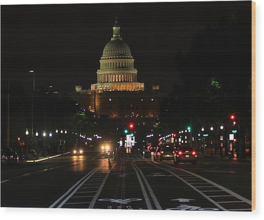 Nightime On Capitol Hill Wood Print by DustyFootPhotography
