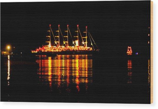 Nightlife On The Water Wood Print