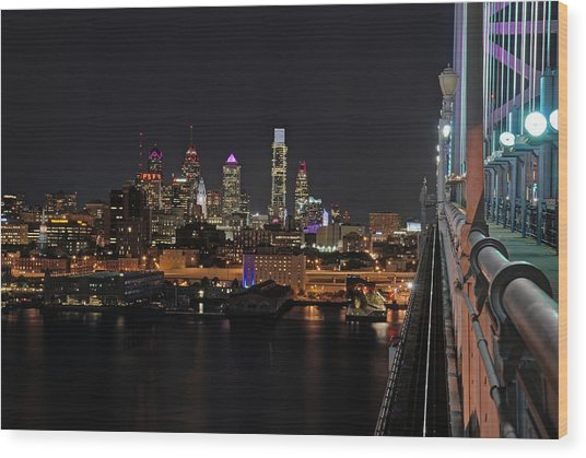Nighttime Philly From The Ben Franklin Wood Print