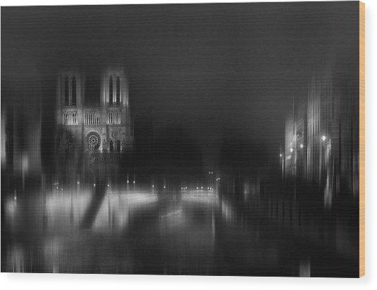 Nigth - Catha?drale Notre Dame Wood Print