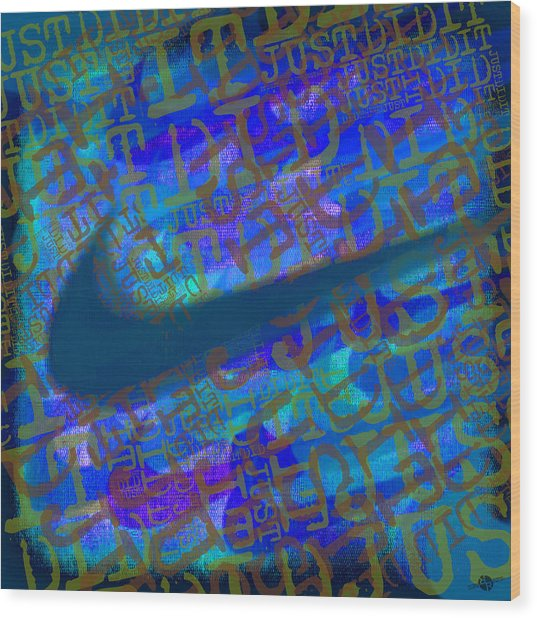 Nike Just Did It Blue Wood Print