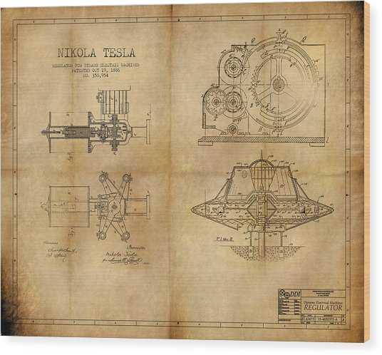 Nikola Telsa's Work Wood Print