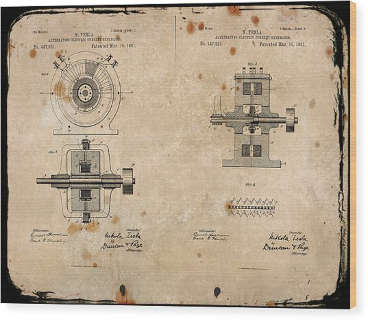 Nikola Tesla's Alternating Current Generator Patent 1891 Wood Print