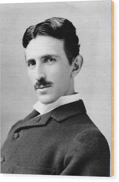 Nikola Tesla Portrait Wood Print
