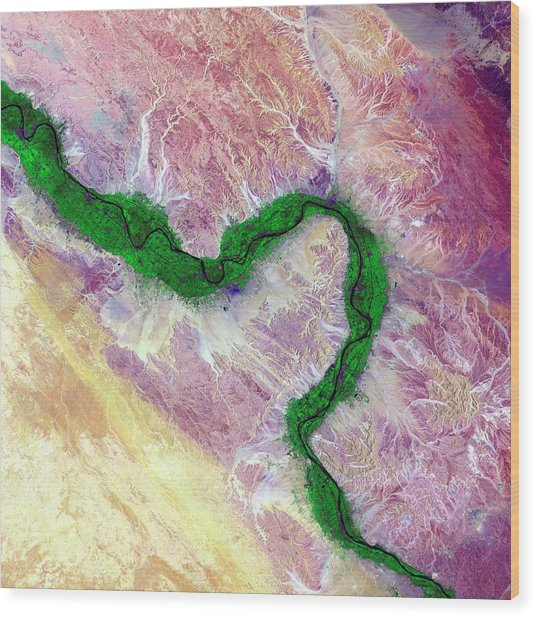 Nile And Egyptian Desert Wood Print by Us Geological Survey/science Photo Library