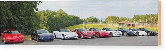 Nine Corvettes Is A Team Wood Print