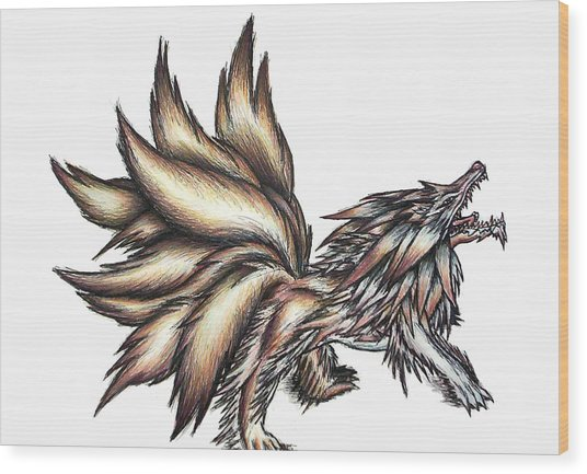 Wood Print featuring the painting Nine Tails Wolf Demon by Shawn Dall