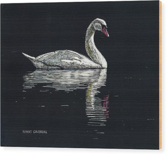 Nino's Swan Wood Print by Robert Goudreau