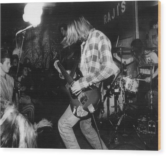 Nirvana Playing In Front Of Crowd Wood Print