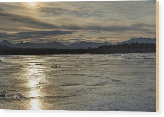 Wood Print featuring the photograph Nizina River Overflow Ice by Fred Denner