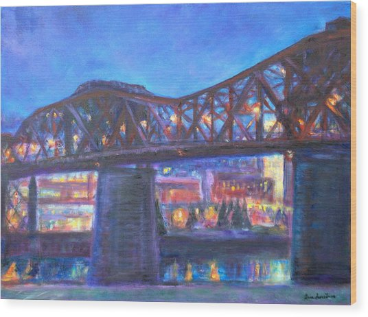 City At Night Downtown Evening Scene Original Contemporary Painting For Sale Wood Print