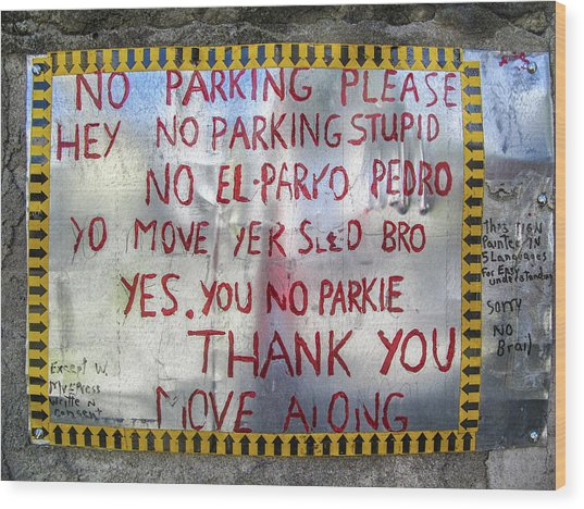 No El Parko Pedro Sign Wood Print
