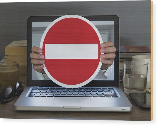 No Entry Sign Appearing Out Of Laptop Computer Wood Print by Dimitri Otis