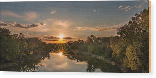 Mississippi Sunset Double Starburst Wood Print